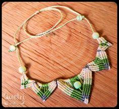 Collar semi Flor de Loto, tonos verdes, macramé  #macramé #collar #flor#de #loto #verde