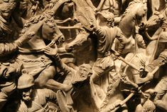 Ancient RomanPortonaccio Sarcophagus, showing the Romans, lead by Marcus Aurelius in the war against the Marcomanni (172-175AD).