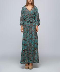 Blue & Burgundy Abstract Surplice Maxi Dress #zulily #zulilyfinds