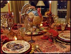 Thanksgiving Tablescape with Turkey Centerpiece and Pottery Barn Turkey Salad Plates 07_wm
