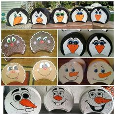 images about Painted Pavers Painted Bricks Crafts, Brick Crafts, Painted Pavers, Stone Crafts, Painted Rocks, Hand Painted, Holiday Crafts, Christmas Crafts, Xmas