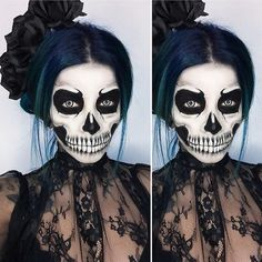 """WEBSTA @ lilmoonchildd - Another closer look at this skull makeup I did! 💀 Now that Halloween is approaching I'd like to send out a quick little reminder. There are lots of costumes that women may choose to wear this year, some are more covered up, and others show lots of skin. Whatever we may choose to wear, it is our body and therefore our decision whether we want to cover up or not. Please try to refrain from judging others' choices. """"Slut shaming"""" hurts all women and is not okay. We…"""