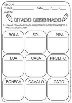 Atividades infantil Portuguese Language, Learn Portuguese, Reading Skills, First Grade, School Projects, Vocabulary, Literacy, Homeschool, Classroom