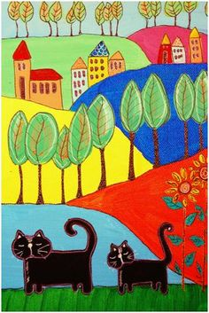landscape with cats
