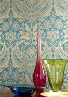 Tapete Desire col.16   Barock Tapete in den Farben gold   Grundton aquamarin-blau