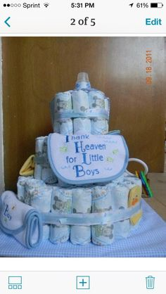 Thank Heaven For Little Boys Diaper Cake - http://www.babyshower-decorations.com/thank-heaven-for-little-boys-diaper-cake.html