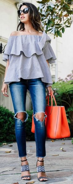 Of the shoulder top and jeans
