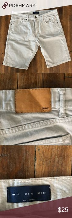 ZARA MENS DENIM SHORTS Men's denim shorts by Zara. Worn just once and in like new condition. Color is a light stone. Zara Shorts Jean Shorts
