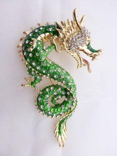 Large Dragon serpent brooch rhinestone and enamel dimensional figural AA724