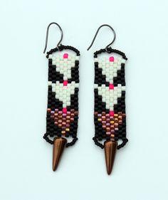 Dagger Earrings/Black/white/gold. #blumaproject #madeinGhana