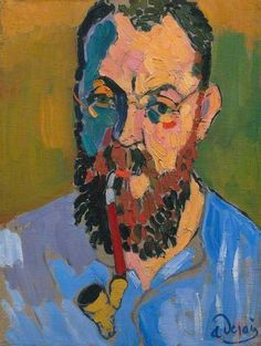 """André Derain   Portrait of Henri Matisse, 1905   Tate  In 1903 architect Francis Jordaon founded a new Salon for a new art. """"Their idea is to paint emotions"""". The group was nicknames Les Fauves, the Wild Beasts, because this new style flippantly rough and almost violently colorful compared to their predecessors.   Matisse came to be known for one strain within this new culture. He was a young Law School renegade! He and his buddy would go out and paint and then check out the Louvre."""