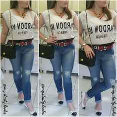 Tee + ripped jeans