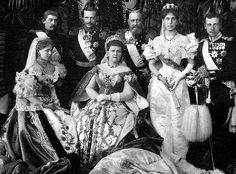 Maria Alexandrovna, wearing her diamond fringe tiara backed with a traditional kokoshnic, along with two of her four daughters