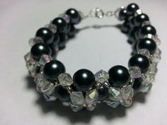 Black and Crystal Bracelet by tahdeah on Etsy, $10.00