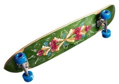 skateboard painted with kurbits, a traditional swedish floral ornamentation. Love it!