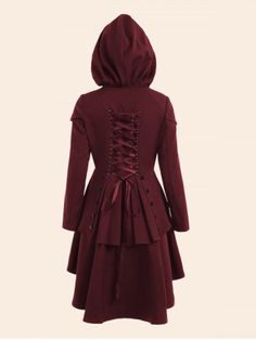 WINE RED Lace Up High Low Plus Size Hooded Coat 5XL