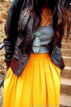 Fun yellow maxi, casual grey tank, tribal beaded necklace & fitted leather jacket. Cute edgy boho winter style.
