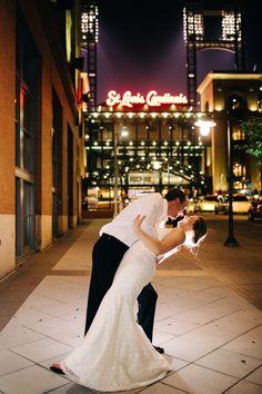 Dip Kiss In Front Of St Louis Cardinals Stadium Westin Wedding