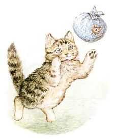 "'The Story of Miss Moppet', 1906 -- by Beatrix Potter. ""She ties him up in the duster, and tosses it about like a ball."""
