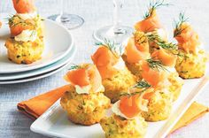 Cheddar and corn muffins with smoked salmon ~ recipe Michelle Southan ~ pic Ian Wallace