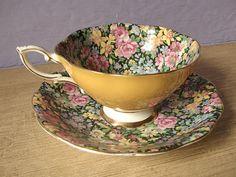 Vintage chintz tea cup set Royal Standard English by ShoponSherman