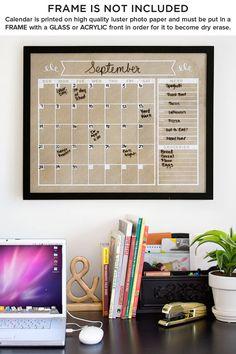Calendario - orizzontale - famiglia Planner-parete vuota calendario calendario stampa - formato Poster