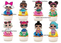 30 x L.O.L Surprise Dolls STAND UP Rice Card Cupcake Toppers 3x4cm Approximately These toppers are printed on edible rice/wafer Card with edible inks These toppers are supplied in sheet form, simply cut out using a dry clean pair of scissors Perfect to decorate your Cupcake