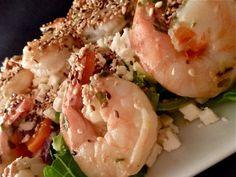 Salade d'épinard aux crevettes et à la féta