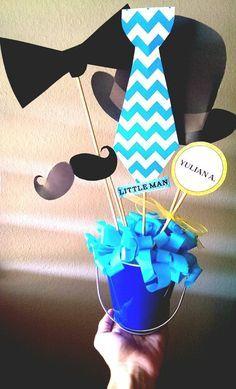 Little man centerpiece #littleman #mustache #birthday