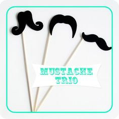 Mustache on a Stick Trio  Photo Booth Prop Set of 6 by SweetKaity, $6.00