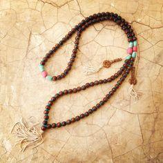 Large Wood Mala Turquoise Mala Tassel Necklace by LalaJewelleryBox