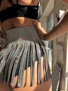 Rave wear Short crystal Skirt with lacing EDM EDC Burning Man Dance Costume Coachella - Festival Outfit - Music Festival Outfits, Festival Wear, Festival Fashion, Festival Costumes, Music Festivals, Coachella Festival, Festival Camping, Festival Clothing, Half Dreads