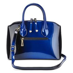Joanna Hope Ombre Patent Bag ($90) ❤ liked on Polyvore featuring bags, handbags, blue bag, blue patent purse, ombre handbag, patent leather handbags and blue handbags