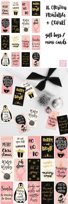 Glam Xmas: 16 pink and gold Christmas gift tags/mini-cards available in both…