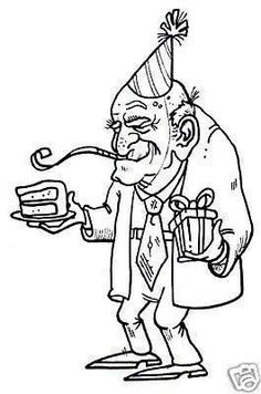 Cartoon of Older man holding a piece of birthday cake and a wrapped gift vector clip art image number Image formats available GIF, PNG and printable EPS, SVG. Pattern Coloring Pages, Colouring Pages, Adult Coloring Pages, Art Impressions, Copics, Digital Stamps, Colorful Pictures, Line Drawing, Digital Image