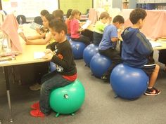 This elementary class doesn't sit on chairs, they use stability balls. What are your thoughts on having stability balls in the classroom?