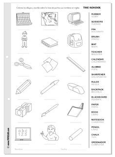 spanish classroom objects labeling worksheet spanish school supplies activities los objetos. Black Bedroom Furniture Sets. Home Design Ideas