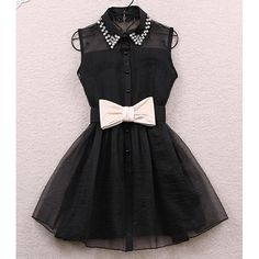 Sweet Shirt Collar Sleeveless Spliced Organza With Belt Women's Dress