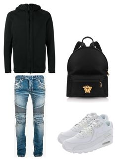 """Untitled #352"" by aintdatjulian on Polyvore featuring NIKE, Balmain, Versace, men's fashion and menswear"
