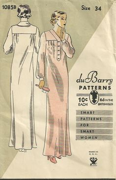 DuBarry 1085B 1085 1930s Misses Nightgown Pattern Bust 34 Womens Vintage Sewing Pattern by patterngate.com