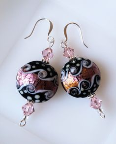 Pink, Black & White Lampwork Glass Beaded Dangle Earrings w/Swarovski Crystals by CrystalCofferDesigns on Etsy