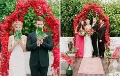 Bold & Playful Summer Wedding Inspiration: Bougainvillea flower altar