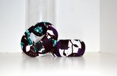 Brown and  Purple African Ankara Print Bangles by ZabbaDesigns, $16.00