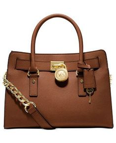 MICHAEL Michael Kors Handbag, Hamilton Saffiano Leather E/W Satchel - Handbags  Accessories - Macys