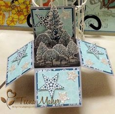 Christmas Box Card inspired by Rachel Woollard Front view