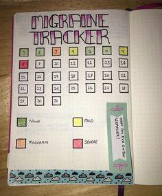 migraine tracker bujo bullet journal health fitness - New Ideas Bullet Journal Health, Mental Health Journal, Bullet Journal Tracker, Bullet Journal Inspiration, Bujo, Journal Layout, My Journal, Journal Ideas, Headache Tracker