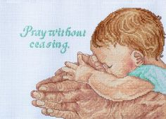 """Pray Without Ceasing Counted Cross Stitch Kit 11""""X8"""" 14 Count Janlynn...have this and someone won't give back"""