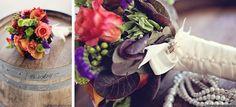 Flowers on wine barrel