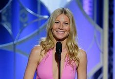 Gwyneth Paltrow stunned with her bubblegum pink dress and Dior makeup #GoldenGlobes #beauty
