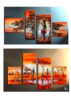 African Girl Painting, Extra Large Painting, Abstract Canvas Painting, Art on Canvas Multi Canvas Painting, Canvas Paintings For Sale, Buy Paintings Online, Hand Painting Art, Online Painting, Large Painting, Canvas Wall Art, Painted Canvas, Woman Painting